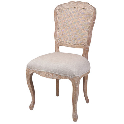 NEW French Country Linen Dining Chair With Rattan Back EBay