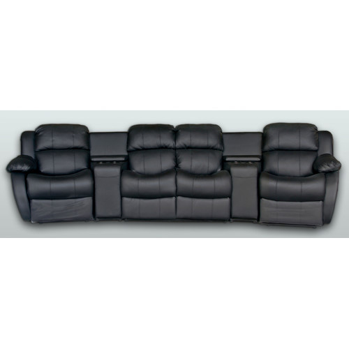 Theatre Room Lounge Suites: Leather 4 Seater Home Theatre Entertainment Lounge Suite