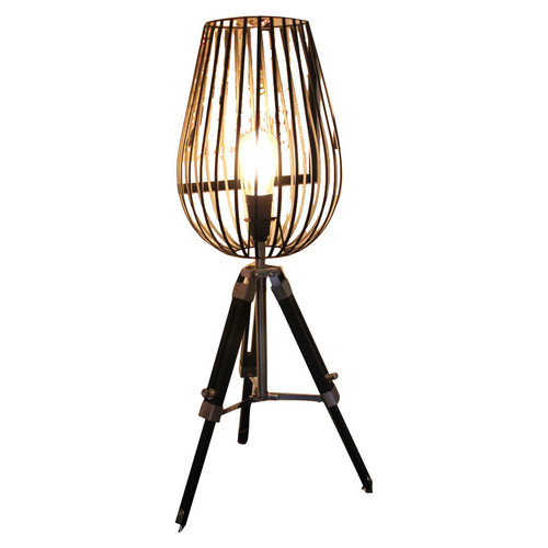 Tripod Table Lamp With Wire Cage Light Shade Temple