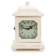 French Provincial Vintage Wooden Mantle Clock in Cream