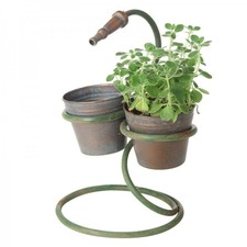 Rustic Metal Planter with Hose