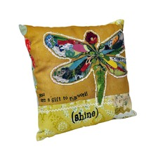 Canvas and Polyester Appliqued Pillow