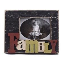 Rectangle Wooden Photo Frame with 3D Raised Letter
