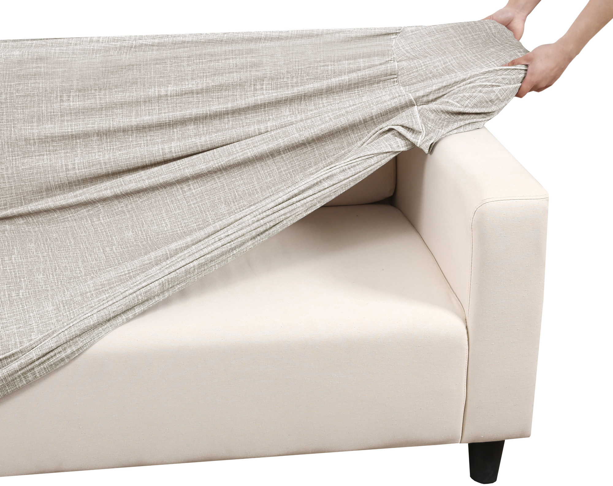 New Sand Faux Linen Stretch Sofa Cover