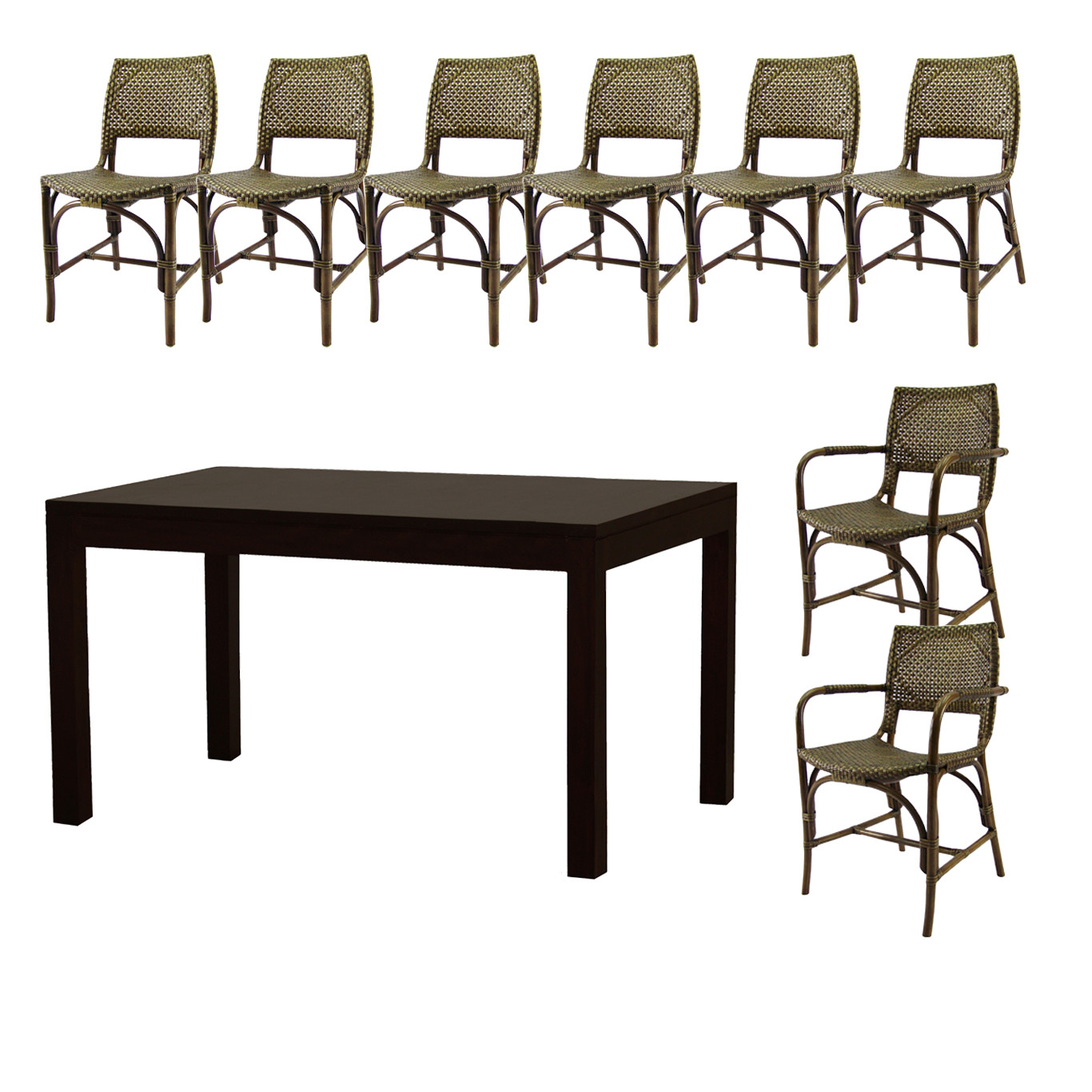 NEW Austin 2 Arm Chairs and 6 Dining Chairs Dining Set | eBay