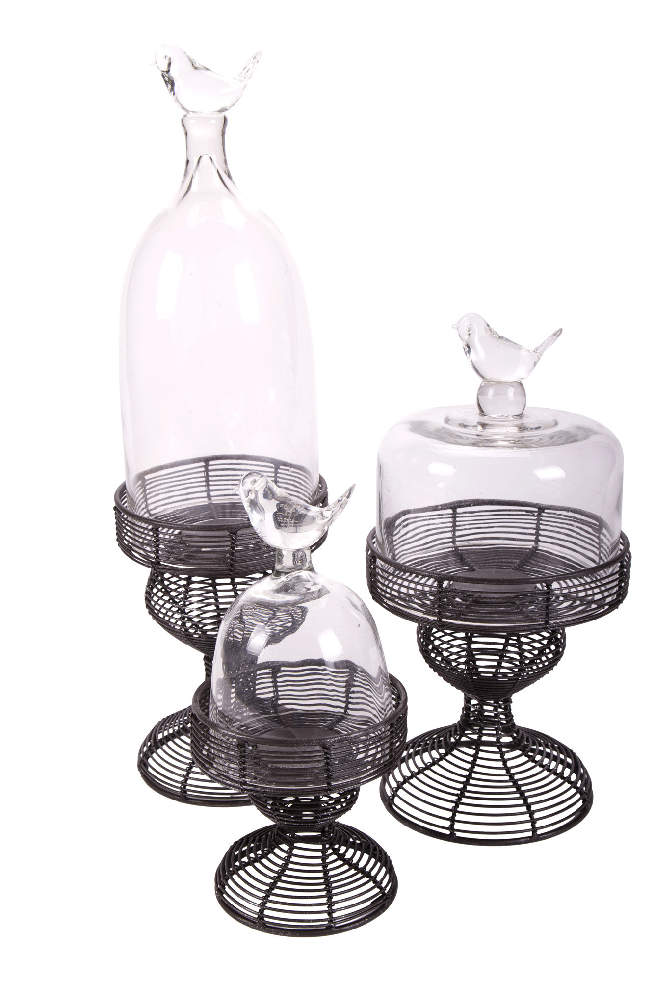 new wire cake stand with glass dome s ebay. Black Bedroom Furniture Sets. Home Design Ideas