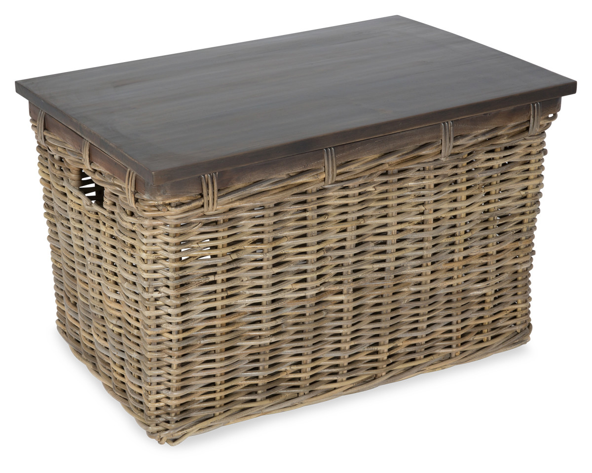 New Rectangular Wooden Coffee Table With Rattan Trunk Ebay