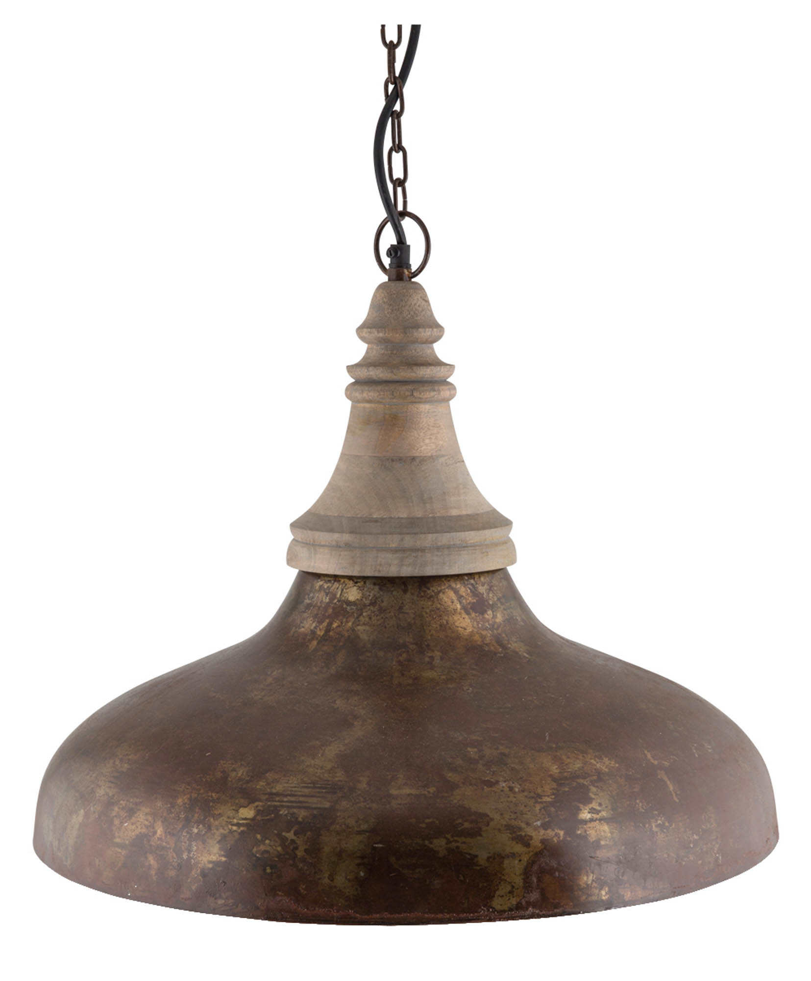 NEW Rustic Brown Iron & Wood Pendant Light