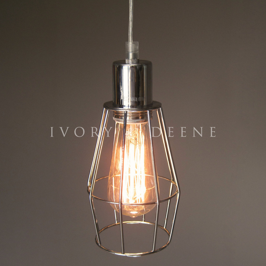 new wire cage industrial pendant light ebay