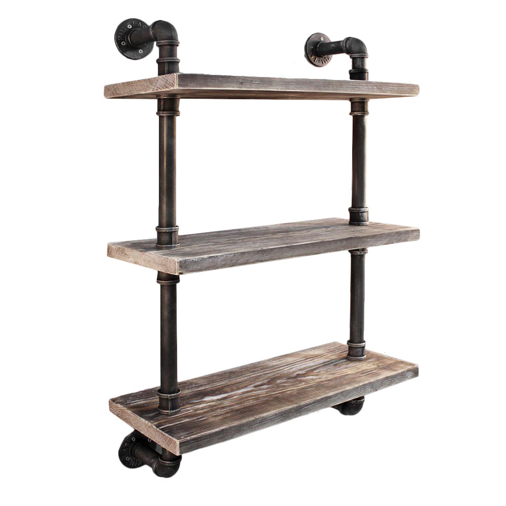 new industrial floating pipe wall shelf ebay. Black Bedroom Furniture Sets. Home Design Ideas