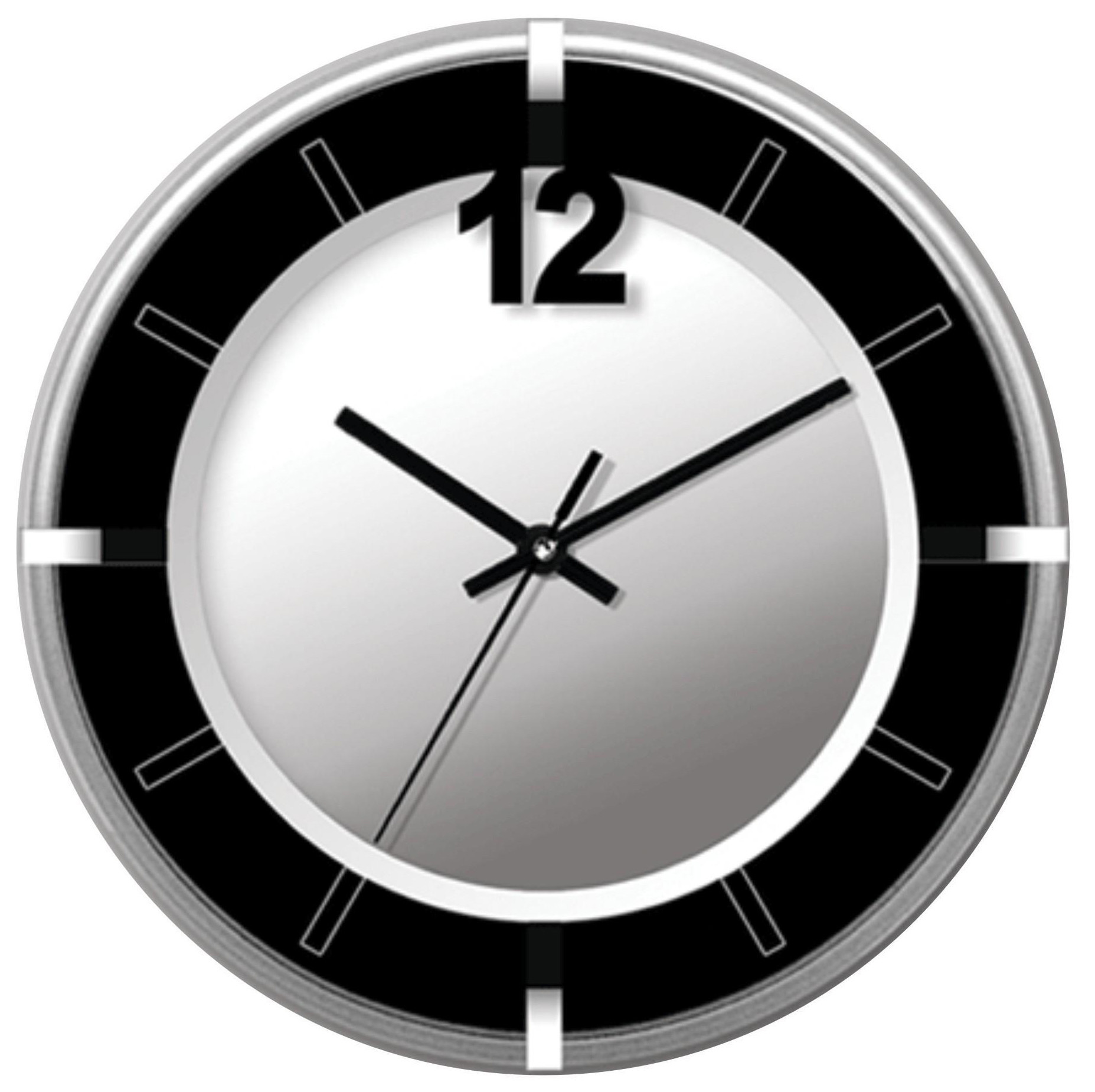 New Wall Clock In Silver And Black Ebay