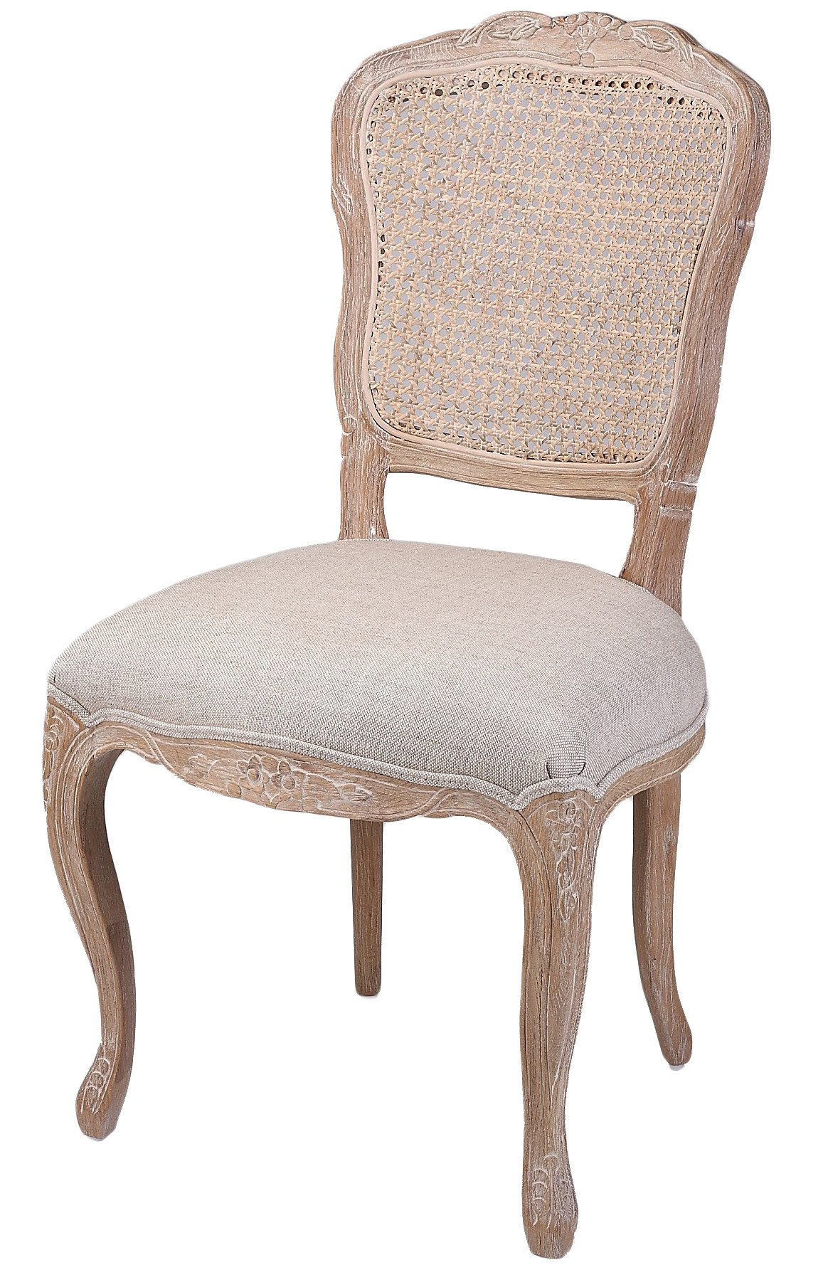 New French Country Linen Dining Chair With Rattan Back