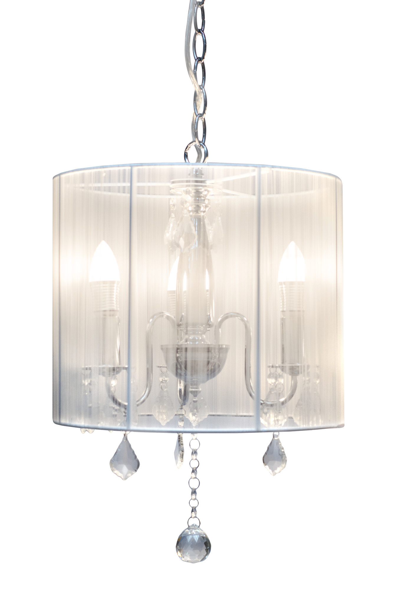 New pairs 3 lights chandelier with white shade ebay - White chandelier with shades ...