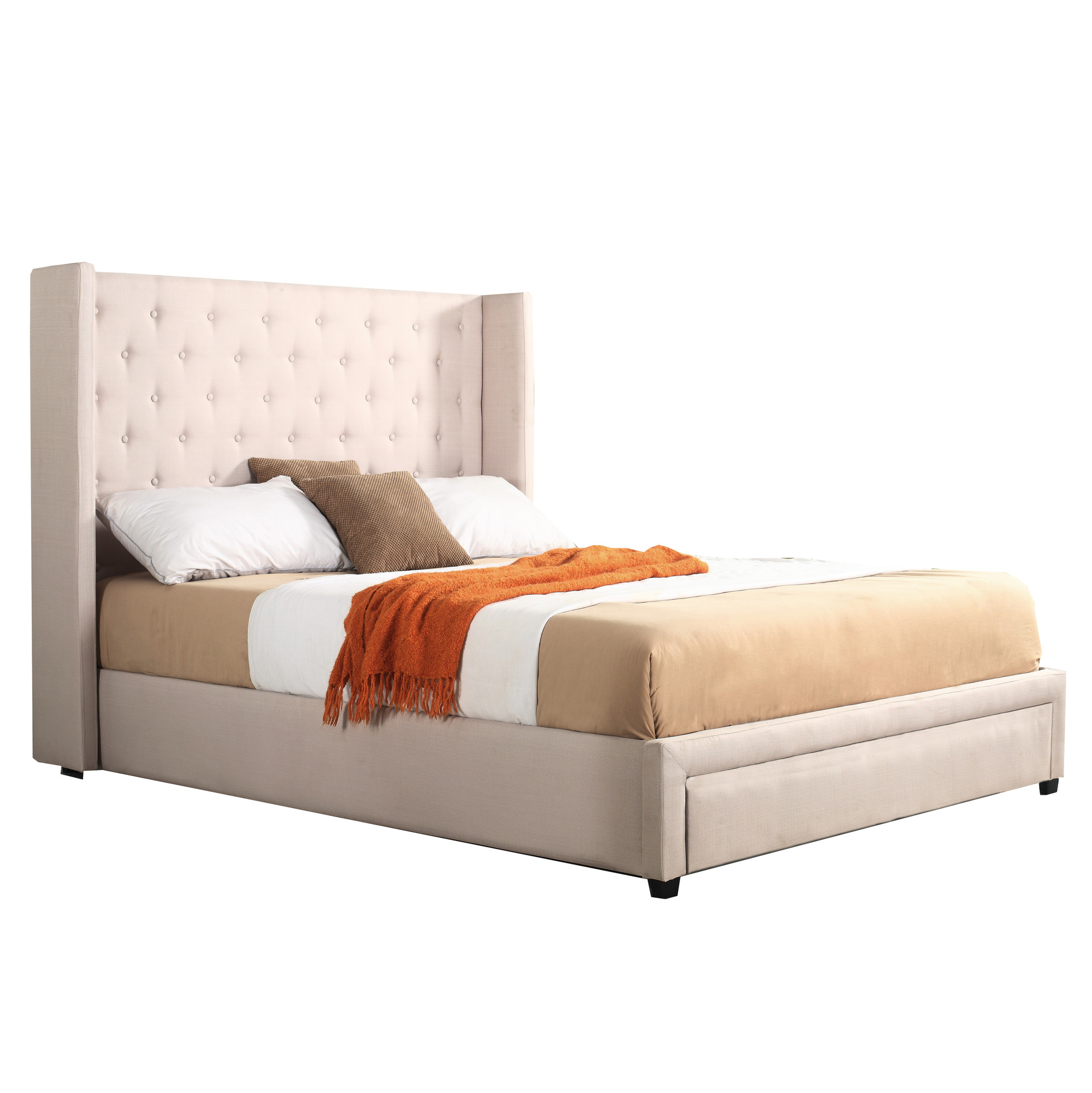 Queen Size Bed: NEW Ivory Button Tufted Wing Queen Size Bed Frame With