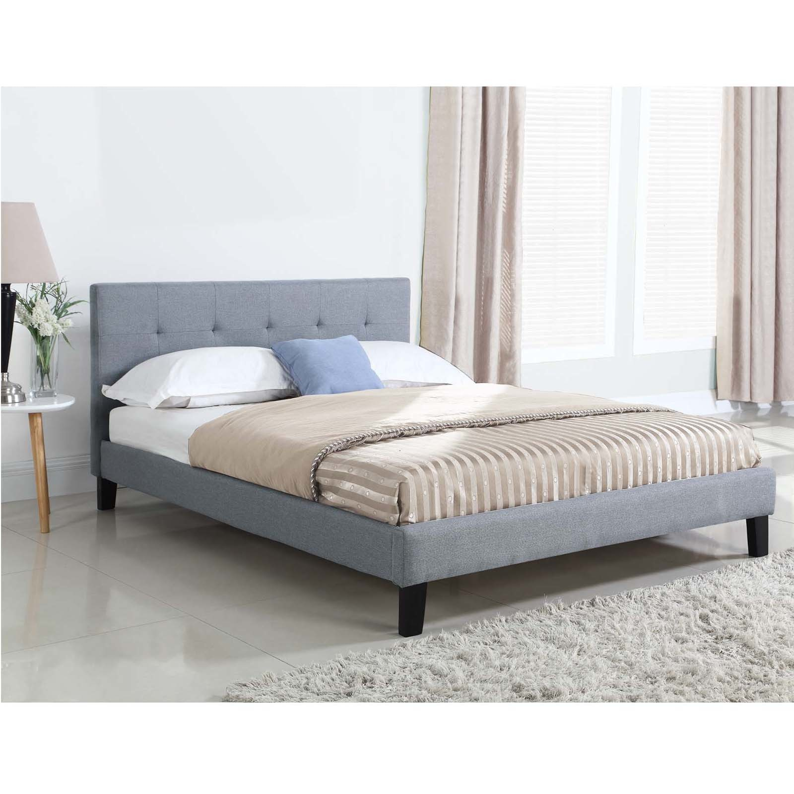 New Grey Button Tufted Queen Bed Frame Ebay