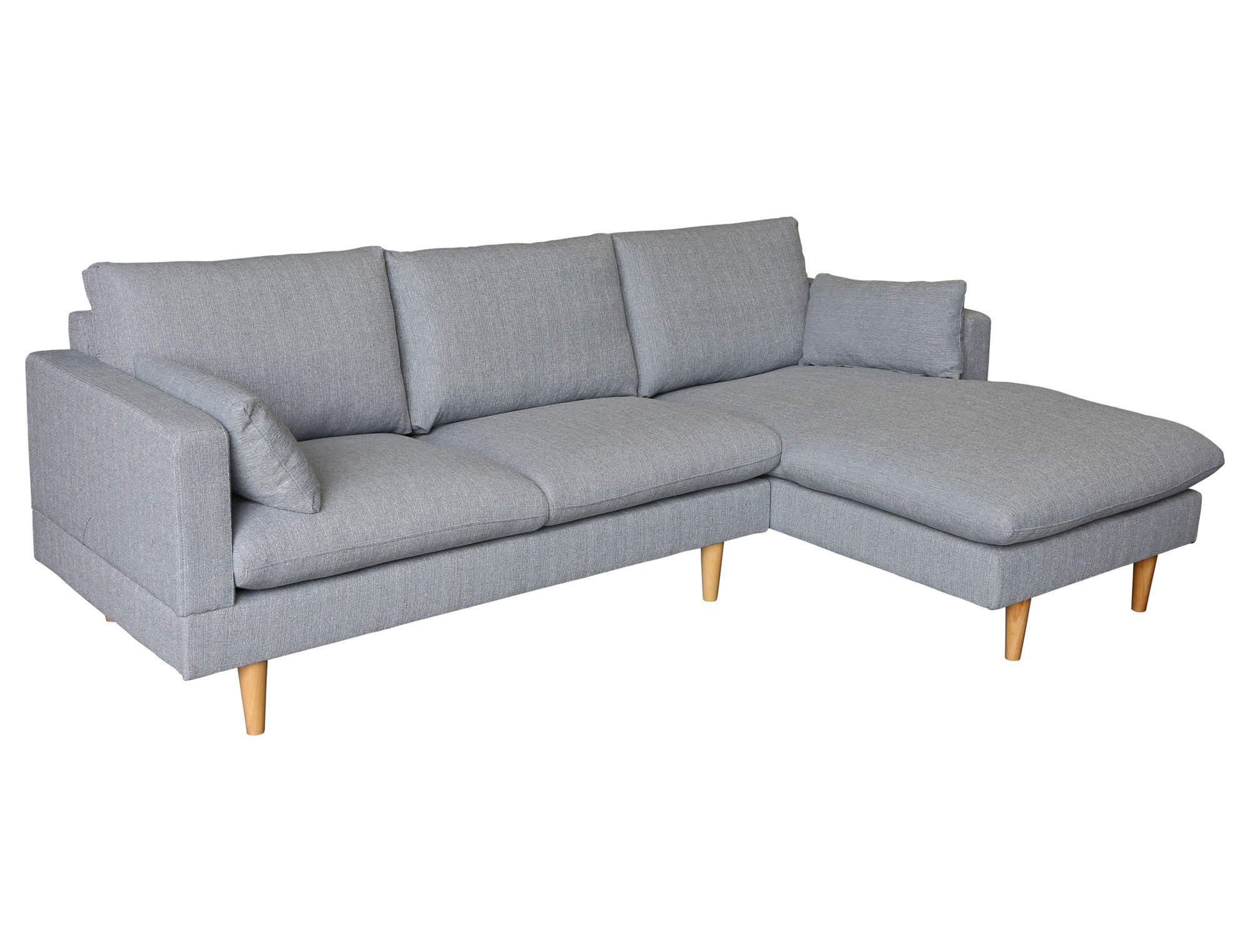 New light grey tia 2 seater sofa with right chaise for 2 seater lounge with chaise