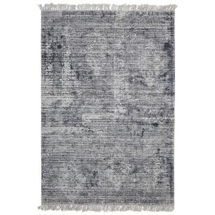 Elinor Scandinavian Style Viscose and Cotton Navy Rug