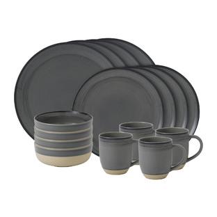 ED Ellen DeGeneres Brushed Glaze Charcoal Grey Table Set (Set of 16)