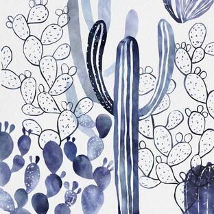 Indigo Cactus Matte Framed Print