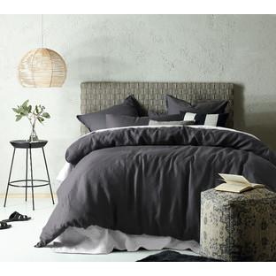 Dark Grey Linen Cotton Quilt Cover Set