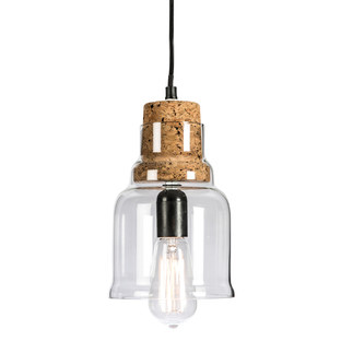 Clear Glass Pendant Antique Light with Cork Holder And Aluminium Canopy