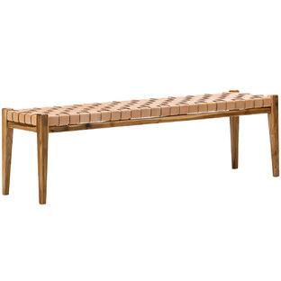 Cassie Leather & Teak Bench