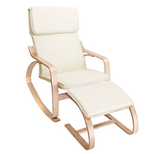 Fabric Rocking Chair with Foot Stool
