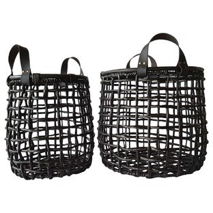 Black Grass & Leather Storage Baskets (Set of 2)