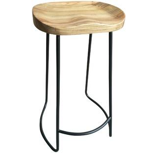 Moulded Elm Wood Barstools (Set of 2)
