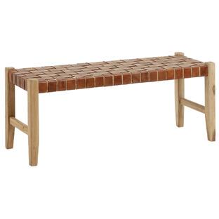 Tan Eliana Leather & Teak Wood Bench