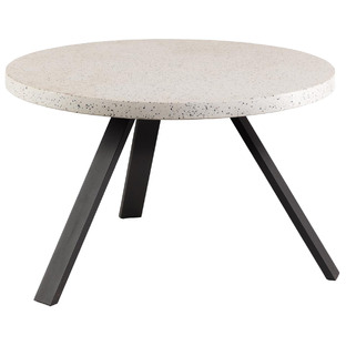 White Ingrid Round Terrazzo-Top Dining Table