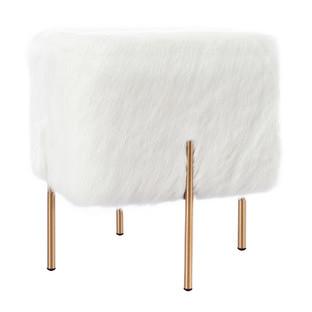 White Faux Fur Chloe Ottoman