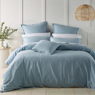 Soft Blue Wellington Linen-Blend Quilt Cover Set