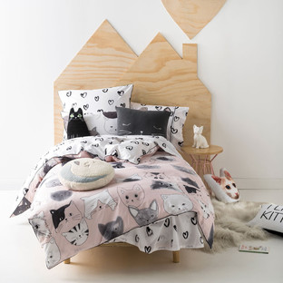 Pink Kittycat Quilt Cover Set