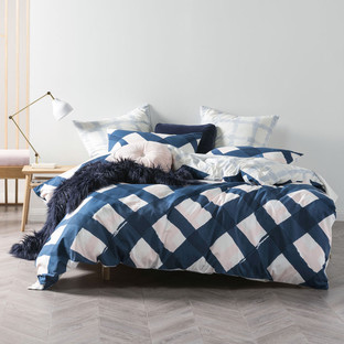 Navy Chela Quilt Cover Set