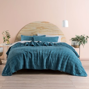 Teal Sunday Cotton Coverlet Set