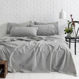 Smokey Grey Melange Vintage Softwash Cotton Sheet Set