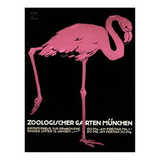Vintage Munich Zoo Flamingo Canvas Wall Art