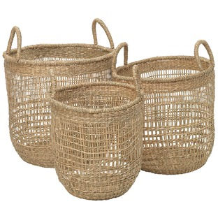 3 Piece Round Seagrass Nesting Basket Set