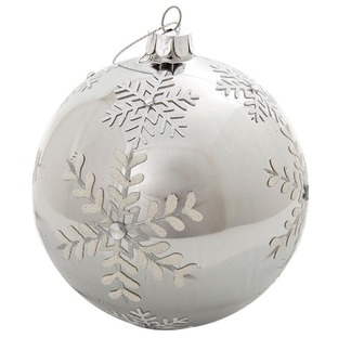 Silver Flocked Snowflake Glass Bauble Decor (Set of 6)