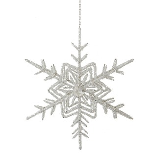 Silver Snowflake Star Double Beaded Ornament (Set of 2)