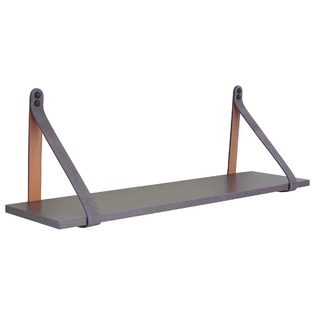 Grey & Tan Suede Leather Strap Shelf