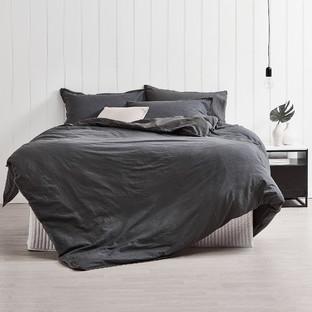Slate Frayed Edge Linen-Blend Quilt Cover Set