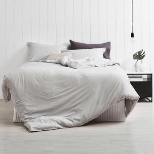 Dove Grey Frayed Edge Linen-Blend Quilt Cover Set