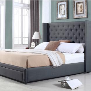 Dark Grey Button Tufted Wing Queen Bed