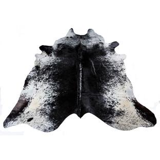 Dark Black Speckled Natural Cowhide Rug
