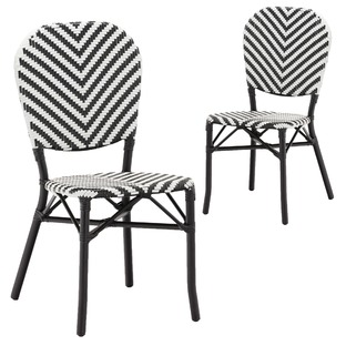 Black Paris PE Rattan Cafe Chairs (Set of 2)