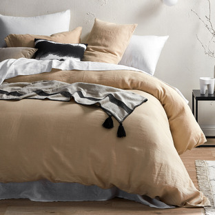 Almond French Linen Quilt Cover Set