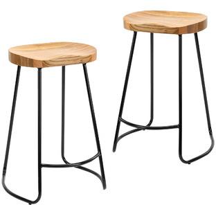 66cm Vintage-Style Elm Wood Barstools with Black Legs (Set of 2)