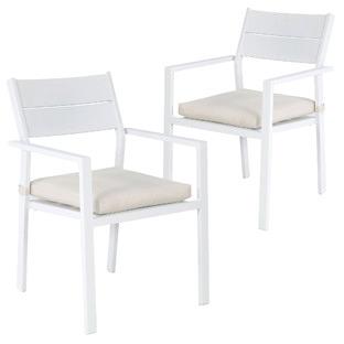 White Kos Aluminium Outdoor Slatted Dining Chairs (Set of 2)